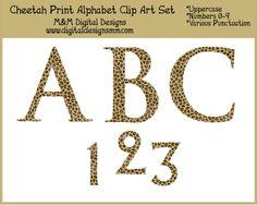 Cheetah Print Alphabet Clip Art Set INSTANT DOWNLOAD