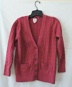 Lands End Girls Pink Cable V-Neck Cardigan Sweater Size M 10-12 #LandsEnd #Cardigan #Everyday