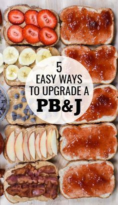 5 easy ways to upgrade your PB&J sandwich! Don't get bored with your sandwich; improve it by adding apples or banana, strawberries, chocolate or bacon! via Crazy for Crust Banana Sandwich, Peanut Butter Sandwich, Peanut Butter Recipes, Peanut Butter Toast, Lunch Snacks, Lunch Recipes, Healthy Snacks, Healthy Recipes, Lunches