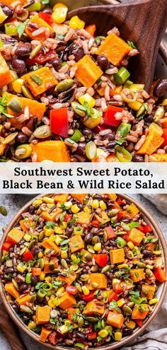 Southwest Sweet Potato, Black Bean, Wild Rice Salad is a colorful and flavorfulsalad full of sweet potatoes, black beans, wild rice, corn, cilantro and a wonderful chili lime dressing. Serve it as a side or main dish.#salad #sweetpotato #wildrice #sidedish #healthyrecipes #vegetarianrecipes #healthydinner #rice Easy Salad Recipes, Supper Recipes, Easy Salads, Side Dish Recipes, Lunch Recipes, Vegetarian Recipes, Healthy Recipes, Healthy Eats, Best Side Dishes