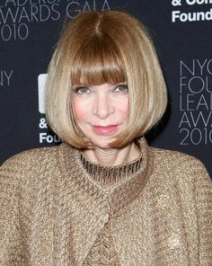 The always-chic fashion editor opts for a sleek bob with bangs to give all her looks an elegant finish.More Hairstyles for Older Women:Short Haircuts Over 50Bob Hairstyles Over 4010 Perfect PonytailsShort Hair Over 40Red Hair Over 40Updos Over 40Bronde Hairstyles Over 40Dos and Don'ts of Bangs...
