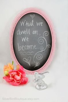 Vintage Framed Chalkboard Upcycled Shabby Chic Pink Message Board by SilverBirdBoutique