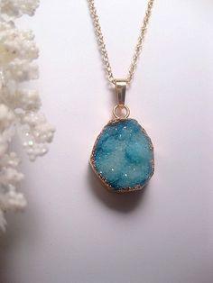 Geode Crystal Druzy Necklace  24k Gold by FashionCrashJewelry