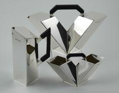 pure all metal art deco tea set