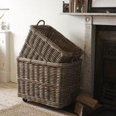 Rectangular Rattan Log Basket With Wheels And Handles - log baskets