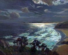 'MOONLIGHT, ST IVES' BAY, CORNWALL' (1937) | Albert Julius Olsson.     ✫ღ⊰n