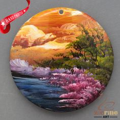 HAND PAINTED ABSTRACT SCENERY MOTHER OF PEARL SHELL NECKLACE PENDANT ZL30 06426 #ZL #PENDANT