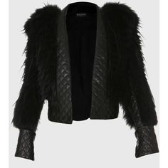 Balmain Raccoon And Quilted Leather Jacket ($5,180) ❤ liked on Polyvore featuring outerwear, jackets, black, balmain jacket, balmain and quilted leather jacket
