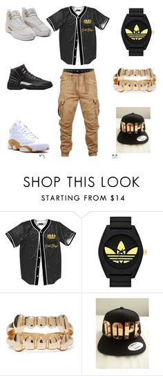 """gold slugz"" by aleisharodriguez ❤ liked on Polyvore featuring Retrò, Jordan Brand, men's fashion and menswear"