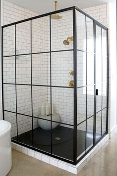 Black Shower Enclosure - Design photos, ideas and inspiration. Amazing gallery of interior design and decorating ideas of Black Shower Enclosure in bathrooms by elite interior designers.