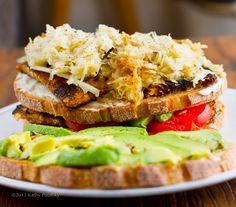 Tempeh Reuben Club Sandwich. #vegan #sandwich