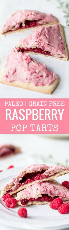 Easy to make paleo raspberry pop tarts are so full of flavor, naturally sweetened, and grain free. These delectable breakfast tarts have a delicious flaky crust (that doesn't crumble) and are filled with sweet berry filling. Gluten free and healthy!