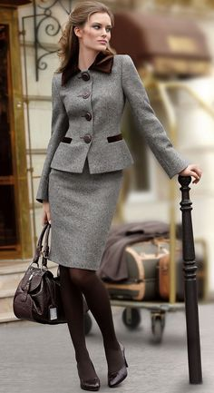 skirt suit ✤ | Keep the Glamour | BeStayBeautiful \ grey & brown skirt suit + brown accessories