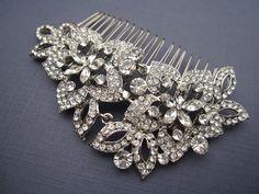 Vintage Inspired Swarovski Crystal Hair Comb by EverythingBride, $65.00