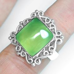 7.99 Gm 925 Sterling silver Natural Top Prehnite Rings 7 US Beautiful Jewelry $