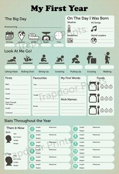 Mein erstes Jahr Baby Infographik digitale von TrapdoorPrints
