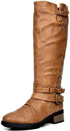 great DREAM PAIRS ATLANTA Women's Side Zipper Fur Lined Riding Boots (Wide Calf Available)