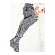 Rotita Warmth Wool Knitted Mermaid Tail Design Blanket (540 MXN) ❤ liked on Polyvore featuring home, bed & bath, bedding, blankets, grey, mermaid blanket, gray wool blanket, gray bedding, grey wool blanket and grey blanket