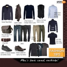 Have a look all the fellow men! BASIC CASUAL MEN's WARDROBE! #MustHave #FashionTip #Fashion #MensWear #Class