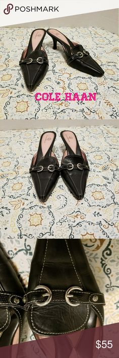 COLE HAAN heels COLE HAAN heels size 6-7. They are size 6 but I tried them on and they fit me slightly but my feet are a little chunky and I wear a 7.5. Very beautiful shoes for business with a low heel. Have a slight cushion to them I side. Retails over $150. Have logo on outerwear. Check out my other items to bundle and save on shipping! Offers accepted. I ship same day! Cole Haan Shoes
