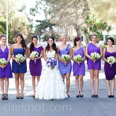 Love The Deep Purples Chosen For These Mismatched Bridesmaid Dresses Beautiful A Vineyard Wedding Pinterest Weddings And Wine