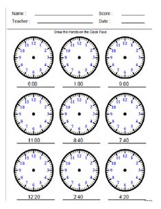 Students have to draw the hands on the clock face. There are are 2 pages of problems and two pages of answers.