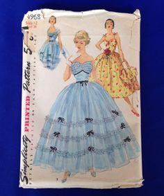 Simplicity 4968 Strapless Gown Dress & Bolero 50s Sz12 B30 W24 H33 Uncut FF 38.95+3.4 1bd 5/17/14 env worn