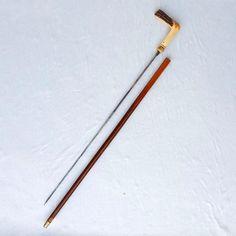 Canne-épée XIXe siècle, lame bleuie, pommeau en bois de cerf