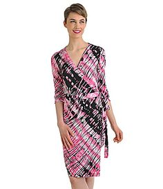 Peter Nygard Petites Tiered Striped Faux Wrap Dress #Dillards