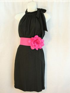 Black dress with pink bow sash belt...perfect for a wedding