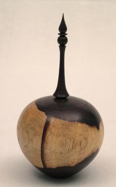 Woodturning African blackwood box with finial