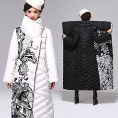 2018 Winter Jackets Women Lengthen Down jacket Fashion Print Stand collar White goose down Coats Thicken Plus size Female 2266 >> Click picture for details << Mod Fashion, Kawaii Fashion, Fashion Prints, Womens Fashion, Fashion Design, Fashion Stores, Fashion Coat, Goose Down Coats, Moda Chic