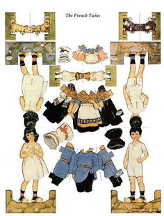 Paper Dolls..Interesting double~sided dolls and wrap~around clothing.
