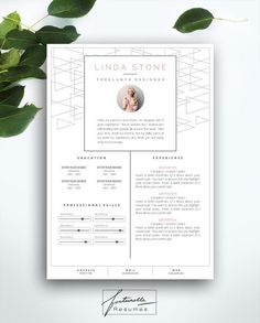 resume template 3 page cv template cover letter instant download for ms word linda - Cover Page Resume
