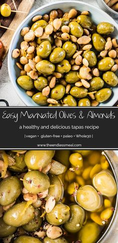SAVE FOR LATER! Easy Marinated Olives and Almonds is a delicious, healthy, and super simple to make tapas recipe. Gently flavored with garlic and lemon, this appetizer will be a hit! | vegan + paleo + Whole30 | #theendlessmeal #olives #marinatedolives #almonds #tapas #appetizers #olivesfromspain #vegan #paleo #glutenfree #whole30
