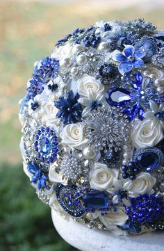 Royal Blue Wedding Brooch Bouquet. Deposit on made by annasinclair