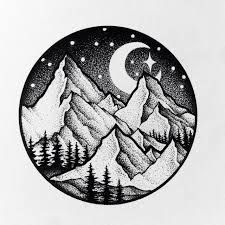 Image result for tumblr drawing mountain inside circle