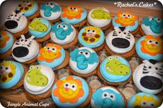 Jungle Animal Baby Shower Cupcakes
