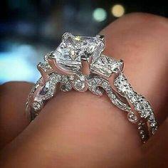 Princess Cut Engagement Rings, Rose Gold Engagement Ring, Engagement Ring Settings, Vintage Engagement Rings, Princess Rings, Halo Engagement, Vintage Rings, Unique Vintage, Vintage Men
