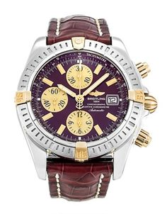 Pre-owned Breitling Chronomat Evolution Gents Automatic watch. mm Steel & Yellow Gold case, with Burgundy dial. Breitling Superocean Heritage, Breitling Navitimer, Breitling Chronomat Evolution, Breitling Watches, Cool Watches, Watches For Men, Fine Watches, Men's Watches, Slide Rule