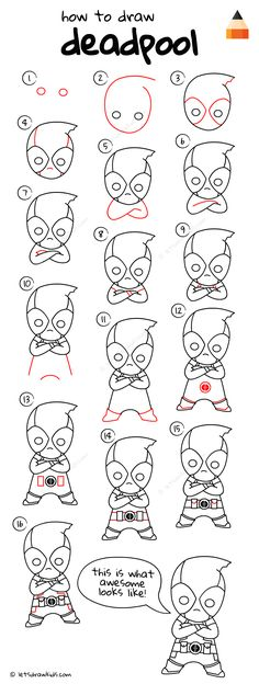 Deadpool Drawing Tutorial Source by Kawaii Drawings, Doodle Drawings, Disney Drawings, Cartoon Drawings, Doodle Art, Easy Drawings, Animal Drawings, Drawing Techniques, Drawing Tips