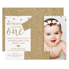 First Birthday Faux Gold Glitter & Pink Invitation 1st Birthday Invitations Girl, Baby Girl First Birthday, Card Birthday, 16th Birthday, Glitter Invitations, Photo Invitations, Glitter Birthday Parties, First Birthday Parties, Ladybug 1st Birthdays