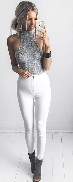 #summer #kirstyfleming #outfits | Grey Knit Top + White Super High Waisted Skinnies