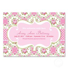 baby shower or birth announcement invitation or birthday pink, blue or any color and more patterns
