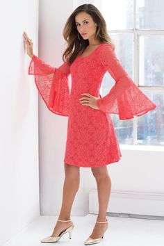 Lace Flutter Sleeve Dress: Unique & Bold Women's Clothing from #metrostyle $59.99