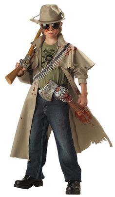 Zombie Hunter Boys Costume - This is a super cool Zombie Hunter costume. Kill the zombie horde and save the last of humanity in this costume. This five-piece costume comes with a tattered trench coat, t-shirt, hat, bullet bandolier and axe with sheath. The trench coat is cut to look torn. It has a collar with interfacing, a cape draping the shoulders and long sleeves. #zombie #hunter #halloween #boys #children #kids #yyc #calgary #costume