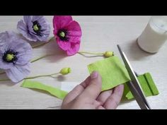 DIY- Paper poppy flowers from crepe paper- Hoa anh túc giấy - YouTube