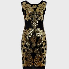 Topshop Petite Baroque Paisley Sequin Bodycon Dress - Black/Gold