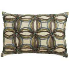 Appliqued Ribbons Pillow Teal ❤ liked on Polyvore