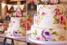 Hand painted wedding cake via Mari Kitsak #floralcake #handpaintedweddingcake